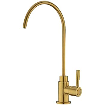 Fonveth Drinking water faucet, Brushed Gold Brass Single Handle Solid Brass Kitchen Bar Sink Drinking Water Faucet, Water Filtration Faucet