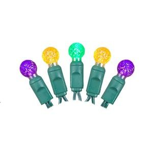 - Vickerman 50 Count Mardi Gras Single Mold G12 Berry LED Light Set with Green Wire, Purple/Gold/Green