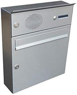 LETTERBOX24.de A-01 - Buzón de acero inoxidable con timbre y filtro para hablar