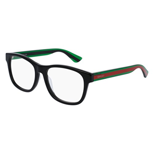 Gucci GG 0004OA 002 Asian Fit Black Plastic Square Eyeglasses 55mm