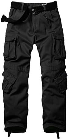AKARMY Men's Fleece Lined Outdoor Cotton Cargo Pants Casual Military Army Combat Work Ski Hiking Pants with 8 Pockets
