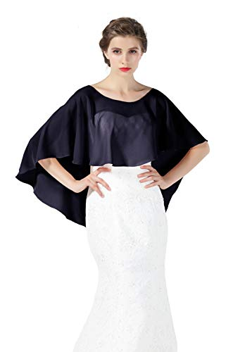 Bridal Capelet Chiffon Cape Shawls High-Low Short Tops For Women Wedding Dresses Midnight Blue