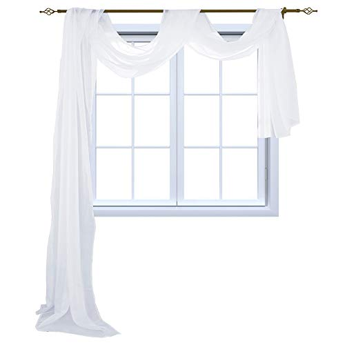 HOLKING Sheer Panel Curtains Scarf-Home Decor Window Sheer Valance Voile Scarf 1 Piece,52 inches Wide by 216 inches Long,White