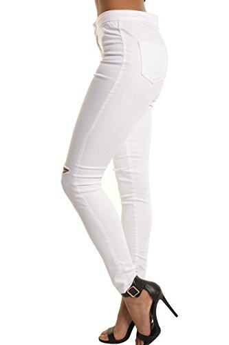 Matita Zojuyozio Buco Jeans Strappata Donne White Alta Si Vita Slim qH8Tq