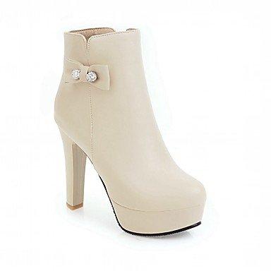 Novedad Botas Invierno De Botas Botines De Piel De UK3 Mujer Zapatos Chunky EU35 Bowknot Confort Sintética Pu Moda CN34 Talón Puntera US5 RTRY Fiesta Redonda Botines Otoño wq7x0vOt
