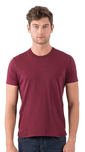 (SOIZZI Fashion Men Classic Crew T Shirt, 100% Organic Cotton GOTS(R), Basic and Casual Design Crew Neck Short Sleeve Tee, Burgundy-M)
