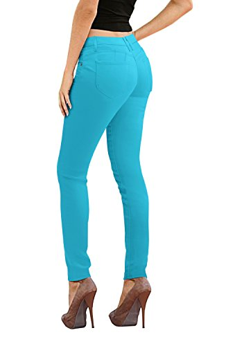- Women's Butt Lift Stretch Denim Jeans-P43302SK-aqua-3
