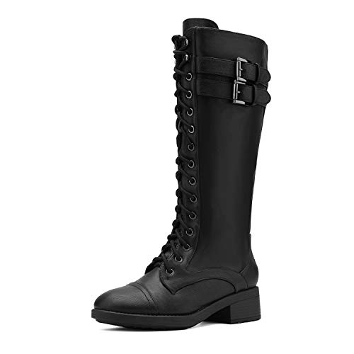 DREAM PAIRS Women's Pu Knee High Riding Combat Boots