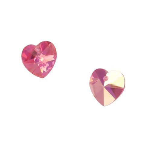 6228 Heart Pendants 14mm, 2 Pieces, Rose AB (6202 Swarovski Heart Pendant Beads)