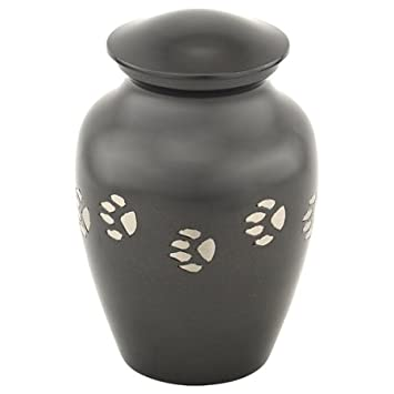 Silverlight Urns Dark Gray with Silver Paw Prints Medium Pet Urn, Brass Urn for Pet, Dog and Cat Ashes, 5.75 Inches Tall