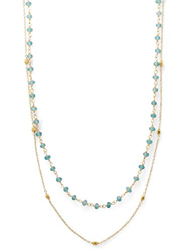 - Double Strand Necklace with Apatite and Satellite Bead Stations Gold-plated