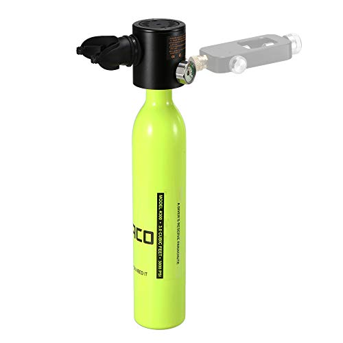 Diving Tank Air Cylinder - Lixada 0.5L Scuba Oxygen Cylinder Diving Air Tank Scuba Regulator Diving Respirator with Gauge Snorkeling Breathing Equipment