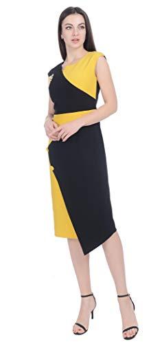 La Trabajo Broche Trasera Elegante Longitud Abeja Cremallera Sin Rodilla Vestido Cosateone Negro De Negocios Oculta Mangas Mujer amarillo Con PHTw1qY
