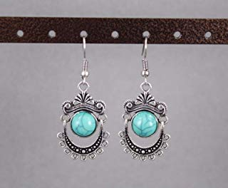 (Silver turquoise dangle earrings hinged lightweight 2 long bead medallion)