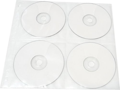 25-Pack 8 Disc CD DVD Poly Sleeves 3 Ring Binder Pages - 200 Disc Capacity (White), for Oversized Binders ()