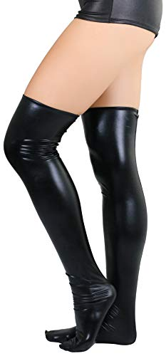 ToBeInStyle Women's Wet Look Thigh Highs - Black - M/L]()