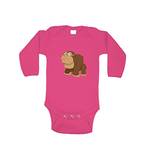 [Gorilla Angry Animals Long Sleeve Baby Bodysuit One Piece Hot Pink 6 Months] (Pink Gorilla Suit)