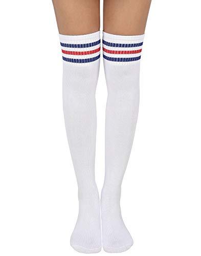 HDE Women Three Stripe Over Knee High Socks Extra Long Athletic Sport Tube Socks (White W/Blue/Red Stripes) (Womens Bunny Light)