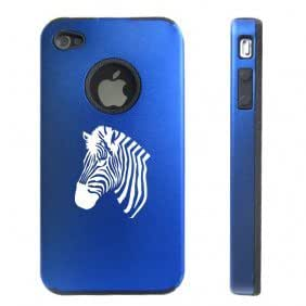 Apple iPhone 4 4S 4 Blue D3872 Aluminum & Silicone Case Cover Zebra