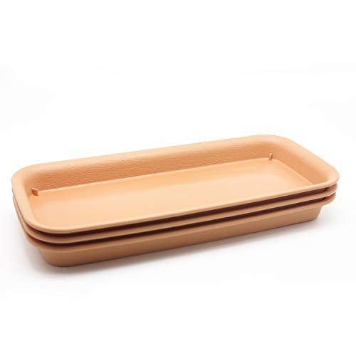 BangQiao 11 Inch Plastic Rectangular Planter Pot Saucer Tray for Indoor and Outdoor Plants,Pack of 3,Terracotta