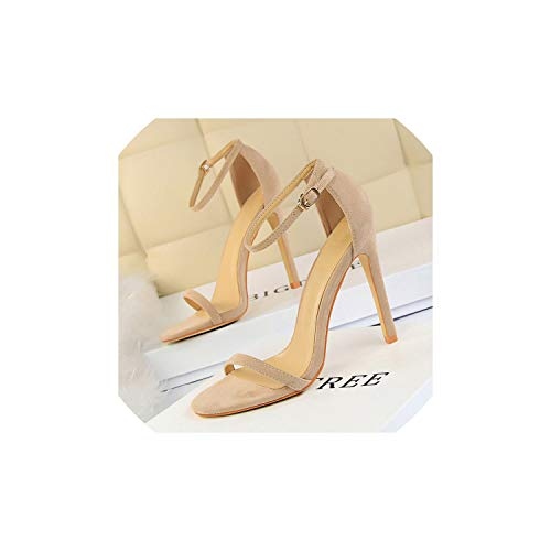 Casual-Life Women 11Cm High Heels Fetish Sandals Female Strap Shoes,Khaki,4
