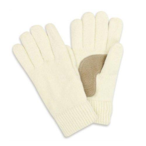 IsotonerレディースアイボリーレーヨンChenilleニット手袋シンサレート裏地付きオフホワイト