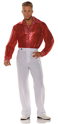 (Sequin Shirt, Red, X-Large)