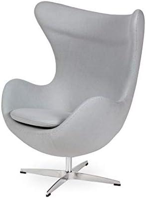 Semax Sedia Ei Egg Chair Riproduzione Di Arne Jacobsen Design Senza Tempo Grigio Chiaro Con Poggiapiedi Amazon It Casa E Cucina
