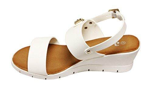 Anne Marie Eva-2 Womens open toe single band slingback wedge heel buckle ankle strap comfort PU sandals White ugiG5fHALb