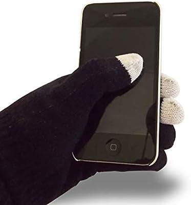 Un par de guantes negros toque smartphone de pantalla: Amazon.es ...