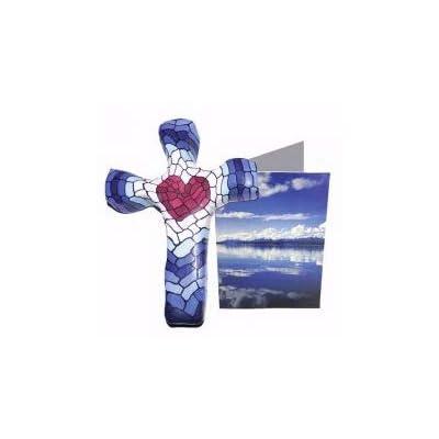 "Calypso Studios Inc. 5"" Hand Held Cross, Comforting Clay, Mosaic Heart: Toys & Games"