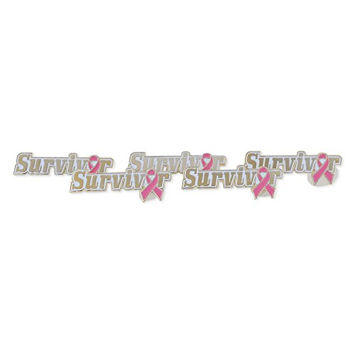 Forge Pink Ribbon Survivor October Breast Cancer Awareness Lapel Pin (5 Pins)