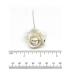 """1.5"""" White Paper Flowers Paper Rose Artificial Flowers Fake Flowers Artificial Roses Paper Craft Flowers Paper Rose Flower Mulberry Paper Flowers, 12 Pieces 4"""