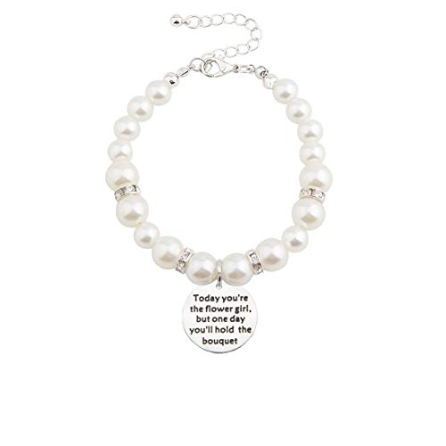 bobauna Today You're The Flower Girl Imitation Pearl Bead Chain Bracelet Wedding Gift for Flower Girl (Flower Girl - Pearl Flower Girl Bracelet