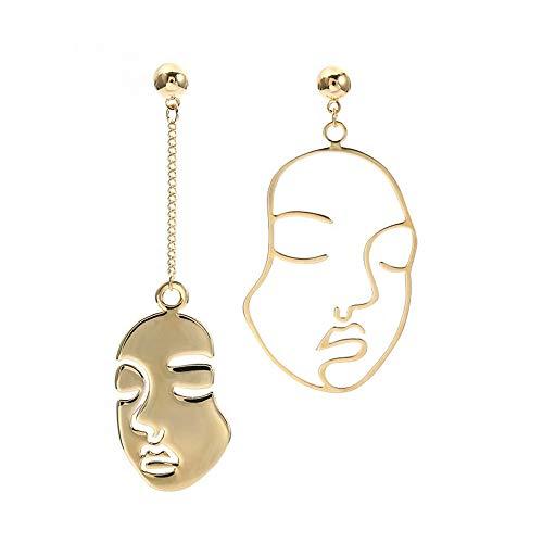 Face Ring - Deroaty Human Face Drop Earrings Geometric Skull Head Vintage Gold Tone (Face)