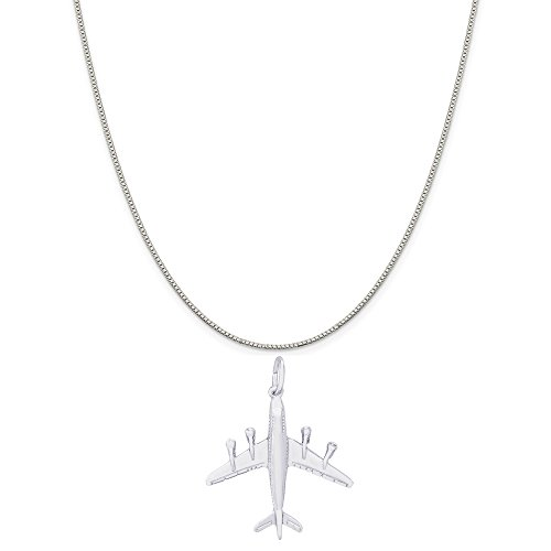 rling Silver Jumbo Jet Airplane Charm on a Box Chain Necklace, 16
