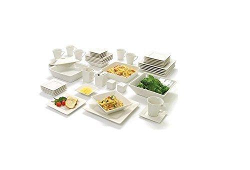 NEW 10 Strawberry Street Nova Square Banquet 45-Piece Dinnerware Set (Cream White) (Street Ten Nova Strawberry)