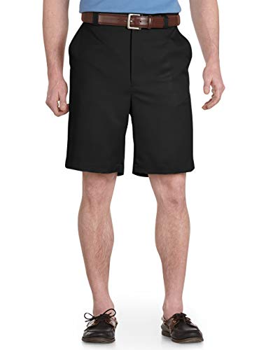 Oak Hill by DXL Big and Tall Flat-Front Microfiber Shorts (46, - Flat Microfiber Mens Front Shorts