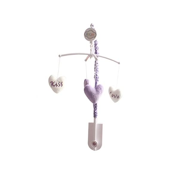 Bacati Love Musical Mobile Playing Brahms Lullaby for Attaching to US Standard Cribs, Grey/Lilac