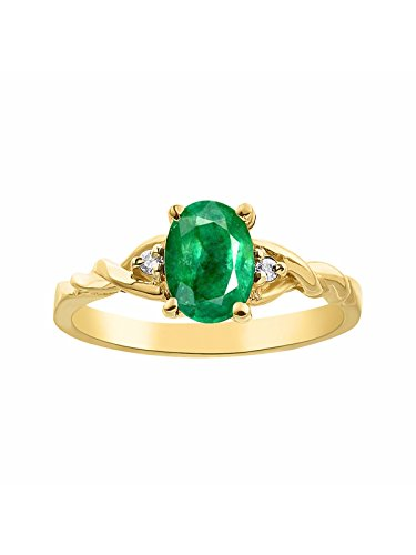 Diamond & Emerald Ring Set In 14K Yellow Gold Solitaire ()