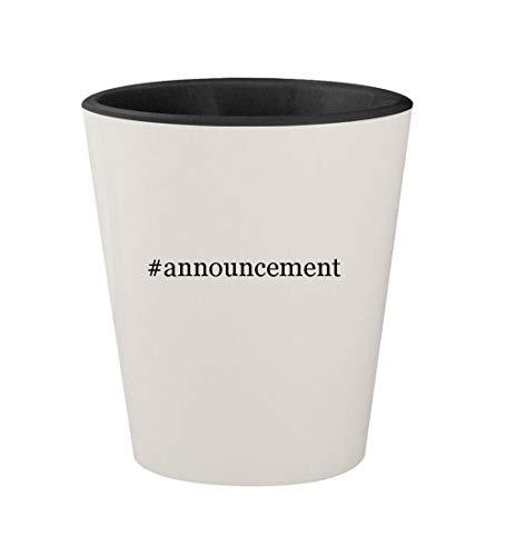 #announcement - Ceramic Hashtag White Outer & Black Inner 1.5oz Shot Glass -