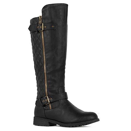 RF ROOM OF FASHION Medium Calf Knee High Hidden Pocket Riding Boots Black PU Size.7.5