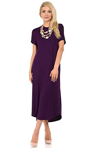 iconic luxe Women's A-Line Short Sleeve Midi Dress Medium Eggplant
