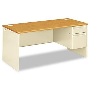 (HON 38291RCL 38000 Series Right Pedestal Desk, 66w x 30d x 29-1/2h, Harvest/Putty)