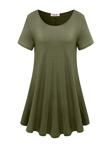 BELAROI Women's Short Sleeve Tunic Tops Plus Size T Shirt Blouses(L,Army Green)