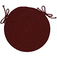 RRI Home Decor Solid polypropylene Chair Pad Braided Rug, 15-inch, Burgundy