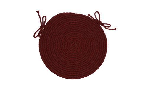 Solid polypropylene Chair Pad Braided Rug, 15-inch, Burgundy ()