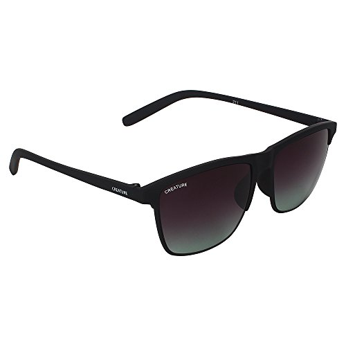 CREATURE Matt Finish Club Master Wayfarer Uv Protected Unisex Sunglasses(Doit-006| 53| Frame-Black)