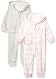 Amazon Essentials Baby Girls 2-Pack Microfleece Hooded Coverall