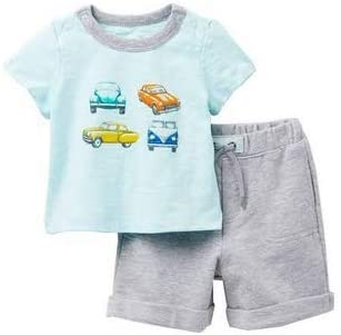 OffSpring Cars 2 PC Short Set 9 Months Aqua Gray